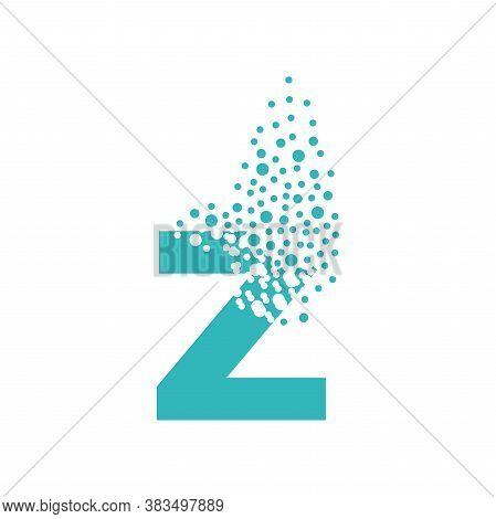 Letter Z Dispersing Into A Cloud Of Bubbles.
