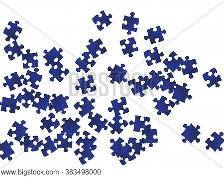 Abstract Brainteaser Jigsaw Puzzle Dark Blue Pieces Vector Background. Group Of Puzzle Pieces Isolat