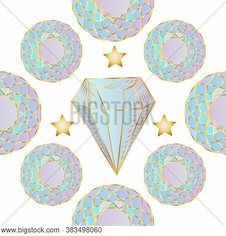 Seamless Pattern With Colorful Fairytale Crystals Gems. Rainbow Multicolored Gem Stones.