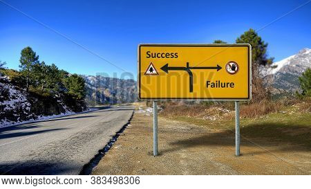 Street Sign The Direction Way To Success Versus Failure