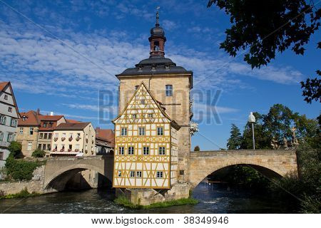 The historical town hall of Bamberg, Germany poster