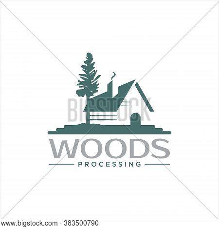 Wood Processing Logo Fun Log House Of Lumber Industry Design Template