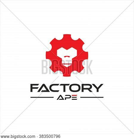 Monkey Logo Gear And Ape Face Vector Illustration. Simple Modern Mascot Design Inspiration For Facto