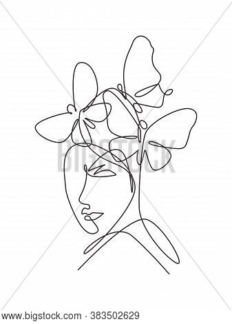 One Single Line Drawing Woman With Butterfly Line Art Vector Illustration. Female Abstract Face Butt