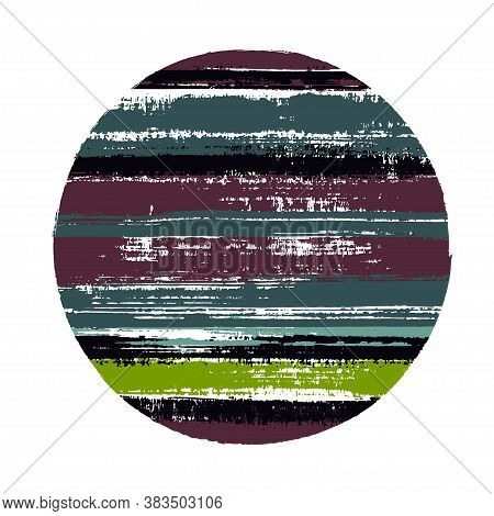 Abrupt Circle Vector Geometric Shape With Stripes Texture Of Paint Horizontal Lines. Disc Banner Wit