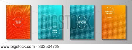 Random Point Faded Screen Tone Front Page Templates Vector Series. Scientific Catalog Perforated Scr