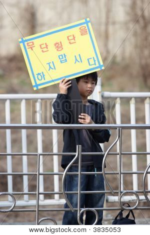 Korean Boy Warns Of Dangers Of Jaywalking.