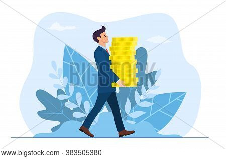Happy Businessman Or Manager Carries Big Stack Of Gold Coins Money. Success In Business Or Wealth, B
