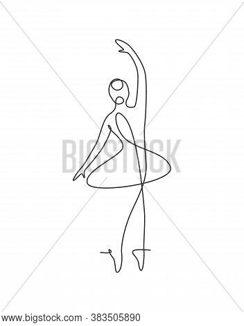 Single Continuous Line Drawing Pretty Ballerina In Ballet Motion Dance Style. Beauty Sexy Dancer Con