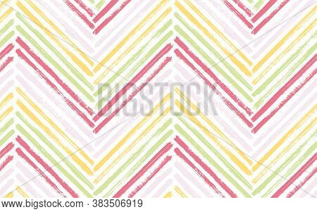 Modern Zigzag Fashion Print Vector Seamless Pattern. Ink Brushstrokes Geometric Stripes. Hand Drawn
