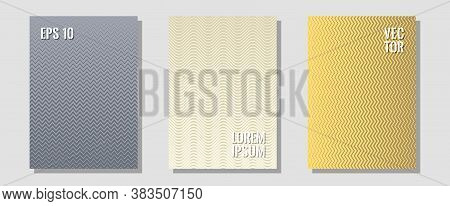Geometric Design Templates For Banners, Covers. Technological Formers. Zigzag Halftone Lines Wave St