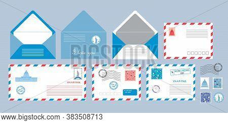 Post Card Set Vector. Envelopes With Post Stamps For Website, App, Chat, Print. Valentine Letter Des
