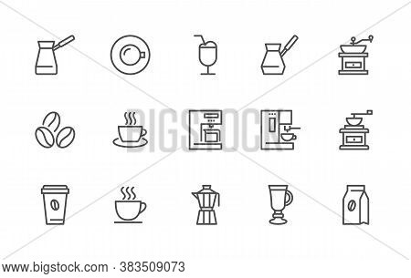 A Simple Set Of Coffee Related Vector Linear Icons. Contains Icons Such As: Coffee Beans, Cappuccino