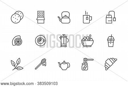 Simple Set Of Tea And Breakfast Related Vector Linear Icons. Contains Icons Such As: Tea, Chocolate,