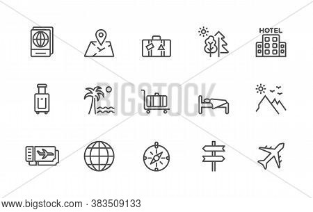 A Simple Set Of Travel Related Vector Linear Icons. Contains Icons Such As: Passport, Location, Hote