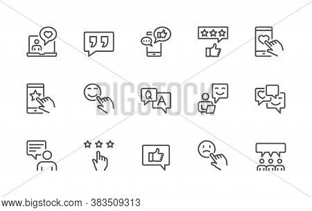 A Simple Set Of Feedback Related Vector Linear Icons. Contains Icons Such As: Rating, User Opinion,