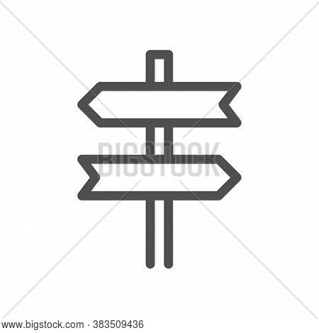 Signpost, Pointer Outline Icon. Road Direction Sign Simple Line Symbol. Linear Style Icon. Flat Desi