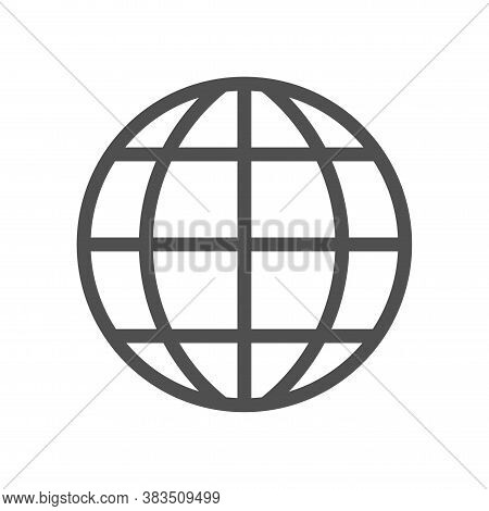 Earth Globe Vector Icon Symbol Isolated On White Background. Thin Linear Network Graphic Pictogram F