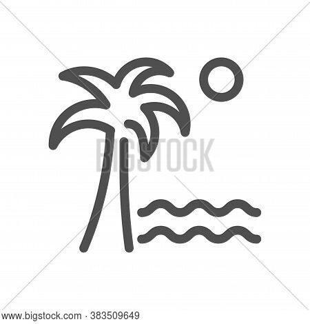 Palm Tree On A Island With Sand In The Middle Of The Ocean With The Sun. Vacation Beach Symbol. Line