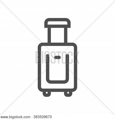 Travel Suitcase With Wheels Line Icon. Linear Style Icon. Flat Design Element. Editable Stroke. 48x4