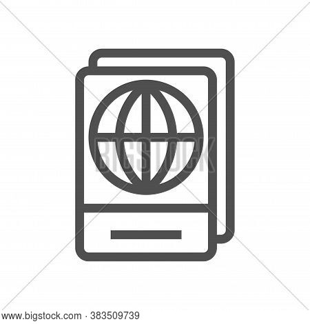 International Passport Outline Icon. Travel Documents. Linear Style. Flat Design Element. Editable S