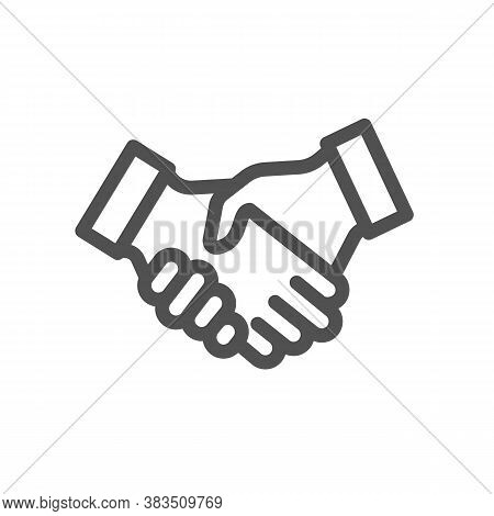 Handshake Cooperation Charity Help Donation. Partnership And Agreement Symbol. Two Hand Shaking Logo