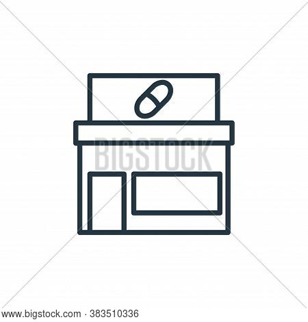 drugstore icon isolated on white background from building collection. drugstore icon trendy and mode