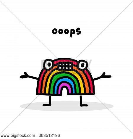 Oops Hand Drawn Vector Illustration In Cartoon Doodle Stye Rainbow Upset Expressive