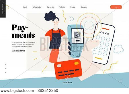 Business Topics - Payment, Web Template, Header. Flat Style Modern Outlined Vector Concept Illustrat