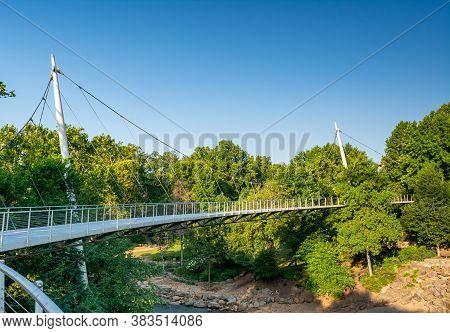 July 18 2020 Greenville South Carolina Usa The Liberty Bridge At Falls Park