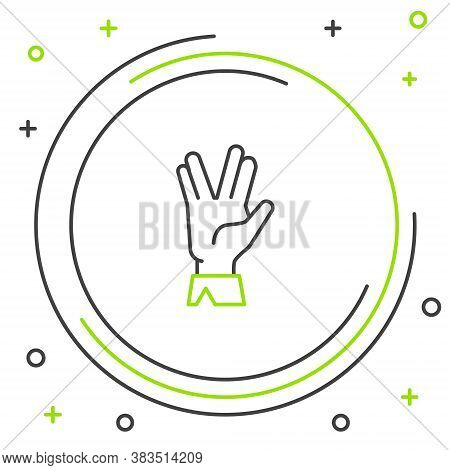 Line Vulcan Salute Icon Isolated On White Background. Hand With Vulcan Greet. Spock Symbol. Colorful