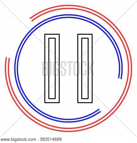 Vector Pause Button Icon - Media Symbol - Pause Music Or Video. Thin Line Pictogram - Outline Editab