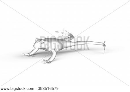 Leaping Toad - Black And White Graphics On White Background - 3d Illustration