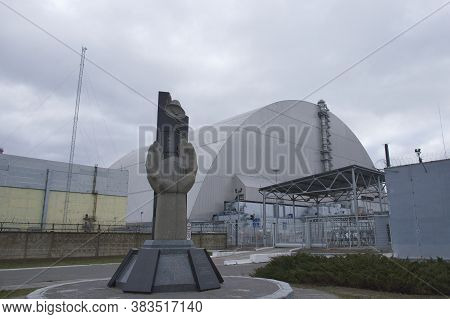 Pripyat, Ukraine, March 14, 2020. Monument To The Liquidators Of The Accident At The Chernobyl Nucle