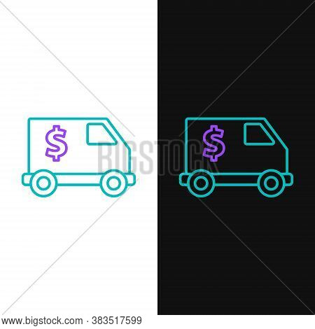 Line Armored Truck Icon Isolated On White And Black Background. Colorful Outline Concept. Vector