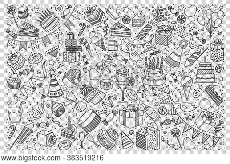Holiday Doodle Set. Collection Of Hand Drawn Sketches Templates Of Birthday Party Celebration Congra