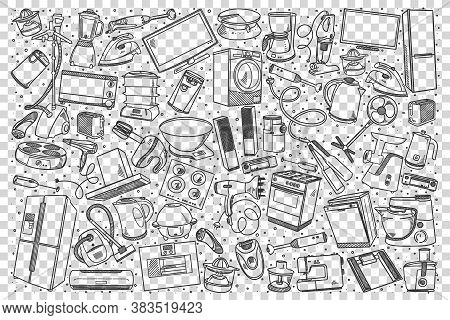 Home Appliances Doodle Set. Collection Of Hand Drawn Sketches Templates Of House Objects Washing Mac