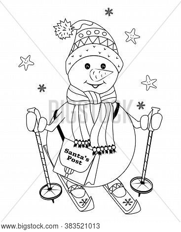 Snowman Skiing With Poles And Postman Bag. Vector Illustration For Coloring Book. Christnas Card. Fo