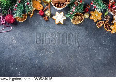 Christmas Background. Table For Cooking Christmas Holiday Baking Cookies And Cakes With Ingredients
