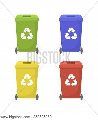 Set Of Colorful Recycling Bins. Ecology And Recycle Concept. Vector Illustration.