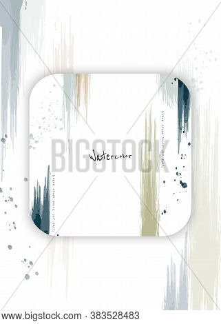 Abstract Background Minimal Design With Earth Tone Watercolor Splash Brush On The Square Frame. Arti