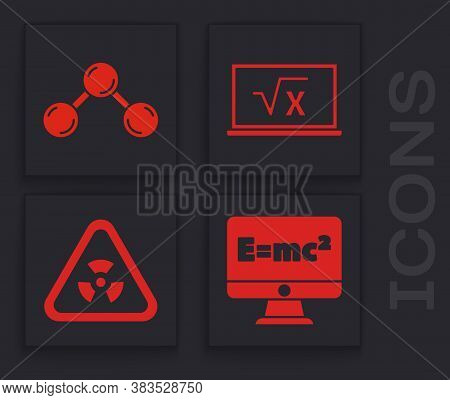 Set Equation Solution, Molecule, Square Root Of X Glyph And Triangle With Radiation Icon. Vector