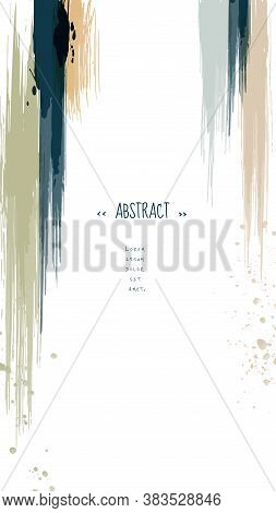 Abstract Vertical Background Minimal Design With Earth Tone Watercolor Paintbrush. Artistic Watercol