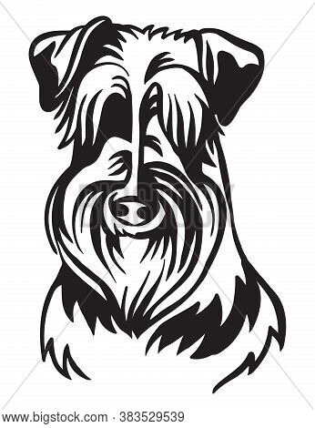 Decorative Outline Portrait Of Cute Schnauzer Dog Vector Illustration In Black Color Isolated On Whi
