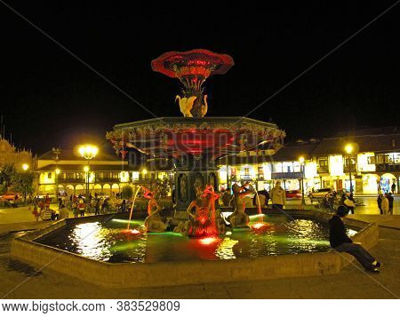 Cusco / Peru - 06 May 2011: The Fountain On Plaza De Armas, Cusco, Peru