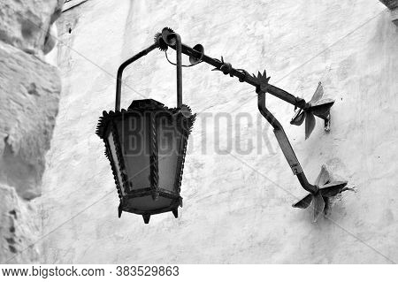 An Old-fashioned Metal Lantern Hung On The Wall Of An Old House. The Old Town Of M'dina, Malta, Euro