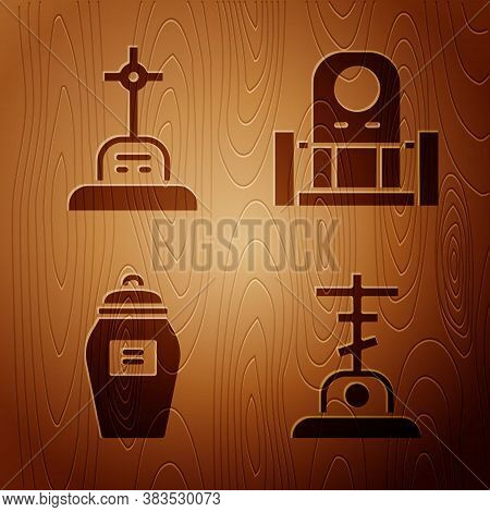 Set Grave With Cross, Grave With Cross, Funeral Urn And Grave With Tombstone On Wooden Background. V
