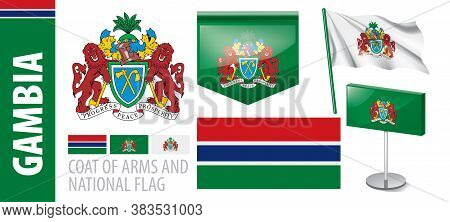 Vector Set Of The Coat Of Arms And National Flag Of Gambia