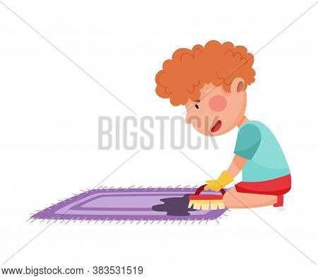 Little Boy Engaged In Housework Scrubbing Rug Vector Illustration