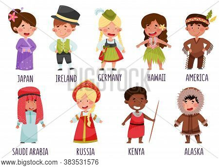 Kids Wearing National Costumes Of Different Countries Vector Illustration Set